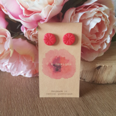 Red polymer clay stud earrings
