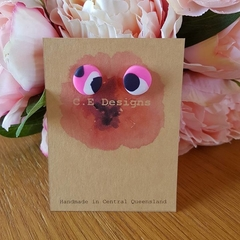 Pink patch polymer clay stud earrings