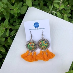 Medium orange peacock tassel dangles