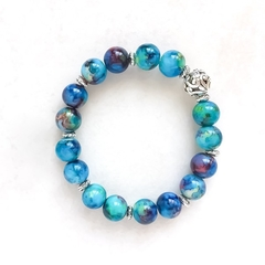 Blue Painted Glass Bead Bracelet, Unique Gift, Vintage Style