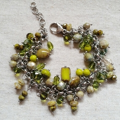 FREE POST Rustic green Czech glass bead charm bracelet