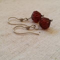 FREE POST Deep garnet red Czech glass bead earrings