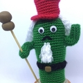 Crochet Nutcracker Cactus in Terra-Cotta Pot, Cute Christmas Decor, Office Decor