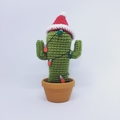 Crochet Cactus with Fairy Lights in Terra-Cotta Pot