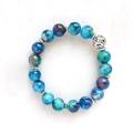 Blue Painted Glass Bead Bracelet, Unique Gift, Vintage Style