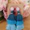 Blue waterfall tassel earrings - large