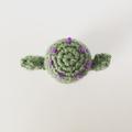 Crochet Cactus with Purple Blossoms in Cement Pot, Cactus Home Decor