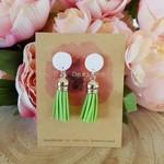 White & lime tassel earrings