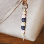 Navy & pink natural wooden bead key chain