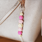 Pink & natural wooden bead key chain