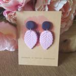 Polymer Clay Earrings - navy & pink leaves