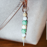 Mint natural wooden bead key chain