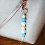 Baby blue natural wooden bead key chain