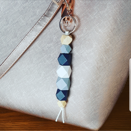 Navy blue natural wooden bead key chain