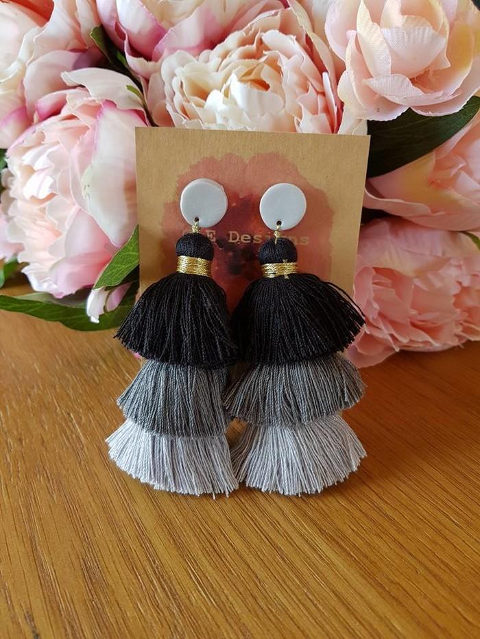 1158dcf58 Silver & black waterfall tassel earrings - large | CE Designs ...