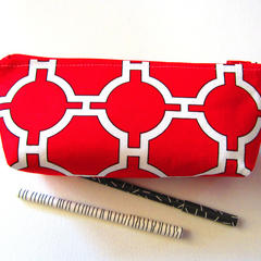 Red and white geometric zippered pouch and makeup bag