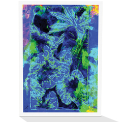 Blue tropical leaves greeting card