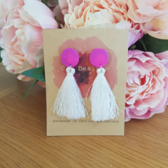 Purple & white tassel polymer clay earrings