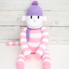 'Chloe' the Sock Monkey - pink and white stripes with purple - *READY TO POST*