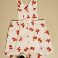 Classic play suit/overall shorts. White with red fox fabric. Size 1-2