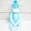 'Hugo' the Sock Monkey - aqua and white stripes -*MADE TO ORDER*