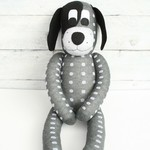'Davis' the Sock Dog - dark grey with light grey spots - *READY TO POST*