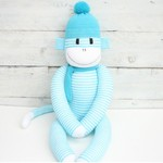'Hugo' the Sock Monkey - aqua and white stripes -*READY TO POST*