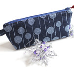 Navy blue and white dandelions cotton zippered pouch makeup bag