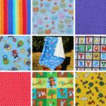 Kids daycare cuddle blanket, flannel/fleece, 1 m x 1 m, 8 fabrics