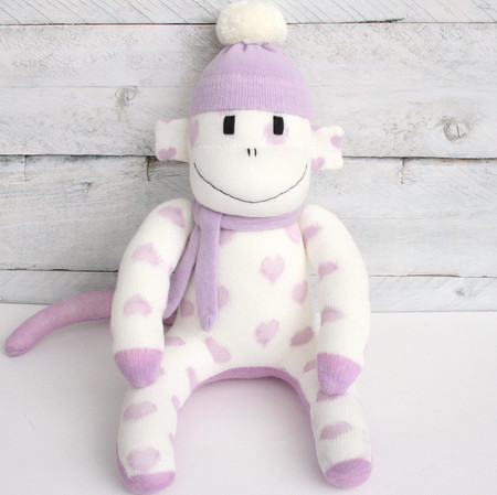 'Grace' the Little Sock Monkey - cream with purple hearts - *READY TO POST*
