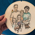 Custom family portraits, 23 cm,  embroidery watercolour hoop art,