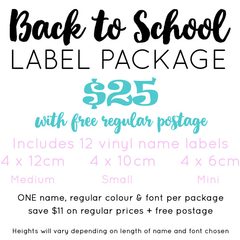 ADHESIVE VINYL NAME LABEL SCHOOL PACK - 12 LABELS