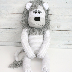 'Lane' the Sock Lion - grey and white stripes - *MADE TO ORDER*