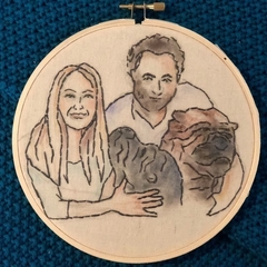 Custom family portraits, 18 cm,  embroidery watercolour hoop art,