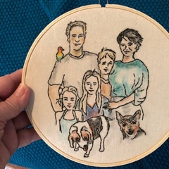 Custom family portraits, 23 cm,  embroidery watercolour hoop art,