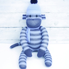 'Parker' the Sock Monkey - light and dark blue stripes - *READY TO POST*