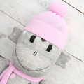 'Dahlia' the Sock Monkey - grey with coloured spots - *MADE TO ORDER*