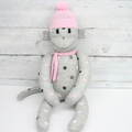 'Dahlia' the Sock Monkey - grey with coloured spots - *READY TO POST*
