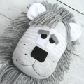 'Lane' the Sock Lion - grey and white stripes - *READY TO POST*