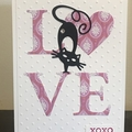 Black cat Valentine Anniversary Handmade Card - stampin up FREE POST