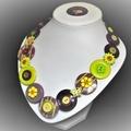 Flower button necklace - Floral Fantasy
