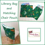 Library Bag and matching Chair Pouch - Lizard design