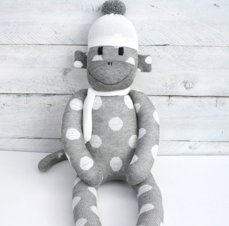 'Taylor' the Sock Monkey - grey with cream spots- *READY TO POST*