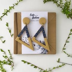 Scribble Triangle Wood Dangles - Spotty Mustard
