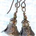 Czech Glass Flower Drop Earrings in Matt Gold & Brass