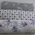 Muslin wrap / shawl /  swaddle  / receiving blanket, pack of three.