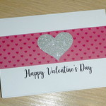 Valentine's Day card - pink and silver