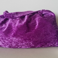 Purple Velvet Elastic Top Bag - medium