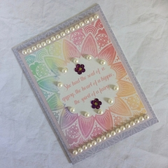 Mauve Floral Blank Card - 'She had the soul of a gypsy…'