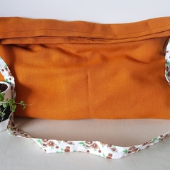 Orange Tote/hand/laptop bag with floral strap